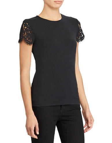 Lauren Ralph Lauren Lace-Sleeve Top-BLACK-Large
