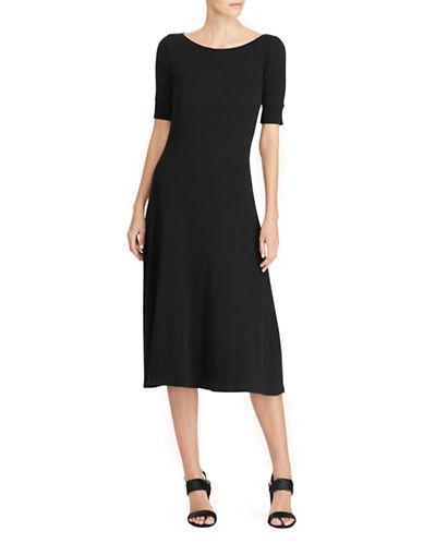 Lauren Ralph Lauren Waffle-Knit Cotton Midi Dress-BLACK-Small 89649028_BLACK_Small