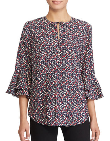 Lauren Ralph Lauren Geometric Bell Sleeve Crepe Blouse-MULTI-Small