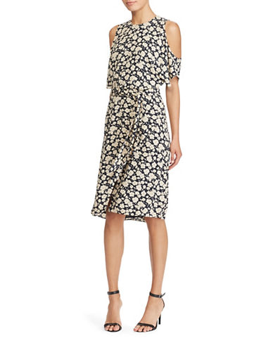 Lauren Ralph Lauren Floral Cold Shoulder Dress-NAVY/WHITE-4
