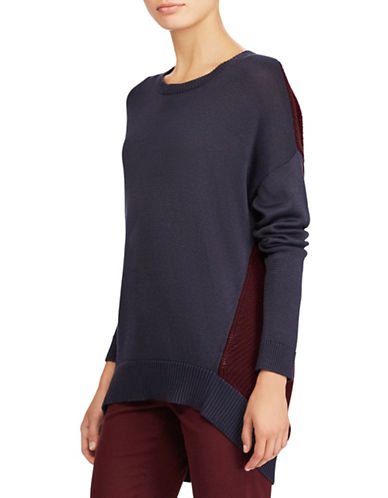 Lauren Ralph Lauren Colorblocked Sweater-BLUE/RED-Large
