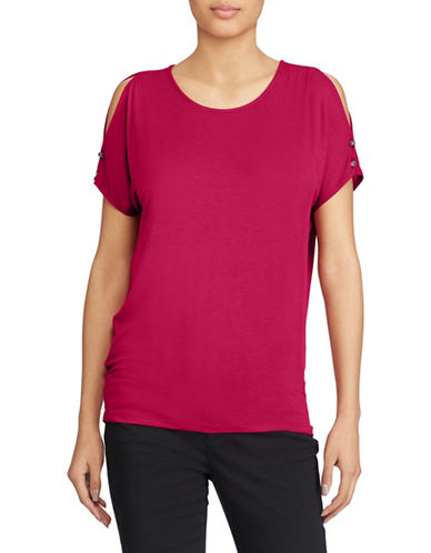 Lauren Ralph Lauren Button Cutout Sleeve Tee-RED-Small