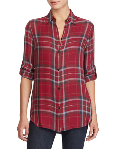 Lauren Ralph Lauren Plaid Twill Button-Down Shirt-RED-X-Large