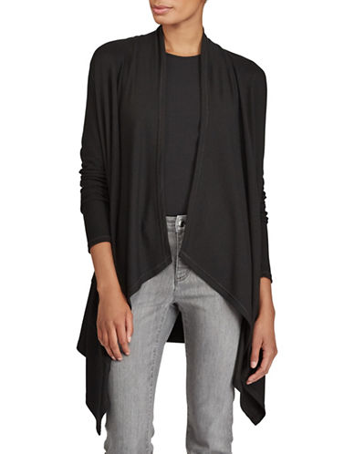 Lauren Ralph Lauren Draped Open Front Cardigan-BLACK-Large 89526909_BLACK_Large