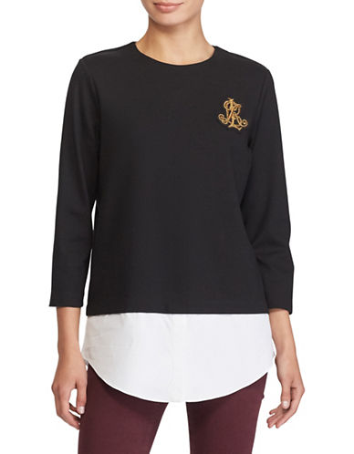 Lauren Ralph Lauren Layered Bullion-Crest Top-POLO BLACK-Medium
