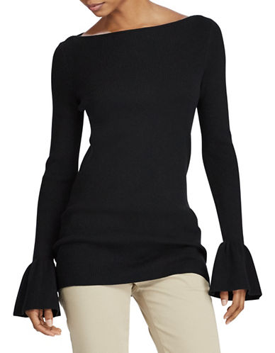 Lauren Ralph Lauren Ruffled Stretch Sweater-BLACK-Medium