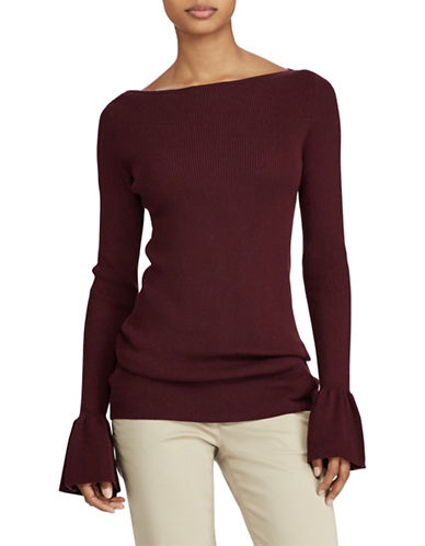 Lauren Ralph Lauren Ruffled Stretch Sweater-RED-X-Large