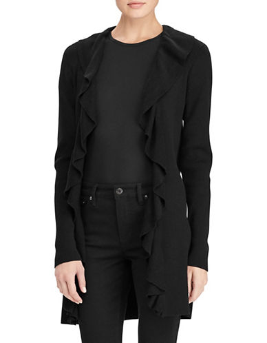 Lauren Ralph Lauren Ruffled Open-Front Cardigan-BLACK-Medium 89649589_BLACK_Medium