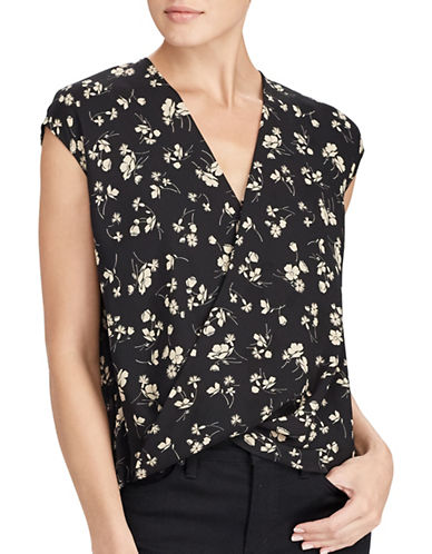 Lauren Ralph Lauren Georgette Surplice Blouse-BLACK-X-Large