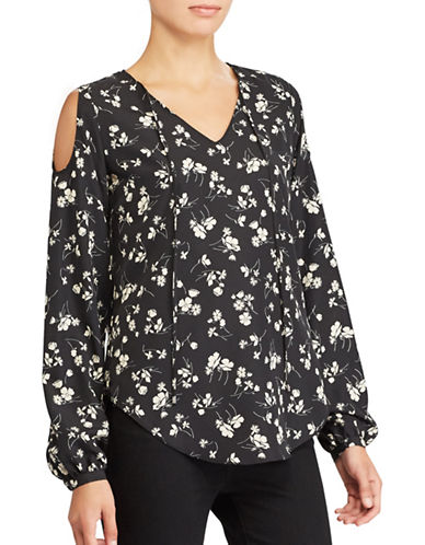 Lauren Ralph Lauren Floral Cold Shoulder Blouse-BLACK-Large
