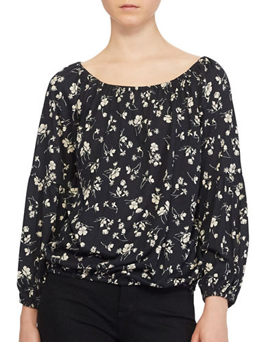 Lauren Ralph Lauren Floral Off The Shoulder Blouse-BLACK-X-Small