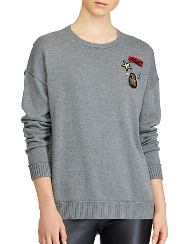 Lauren Ralph Lauren Embellished Roundneck Sweater-GREY-X-Large