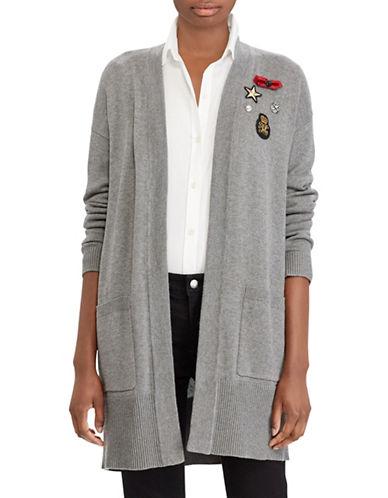 Lauren Ralph Lauren Embellished Open Front Cardigan-GREY-X-Large 89527000_GREY_X-Large