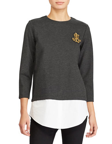 Lauren Ralph Lauren Layered Bullion-Crest Top-GREY-X-Large
