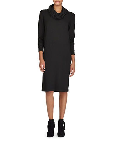 Lauren Ralph Lauren Cowl Neck French Terry Dress-BLACK-Medium
