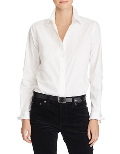 Lauren Ralph Lauren Solid Cotton Button-Up Shirt-WHITE-Medium 89649613_WHITE_Medium