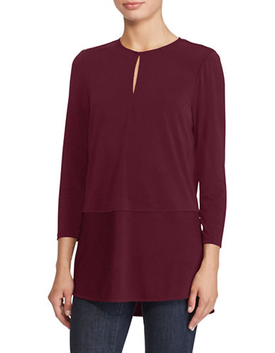 Lauren Ralph Lauren Keyhole Blouse-RED-Medium