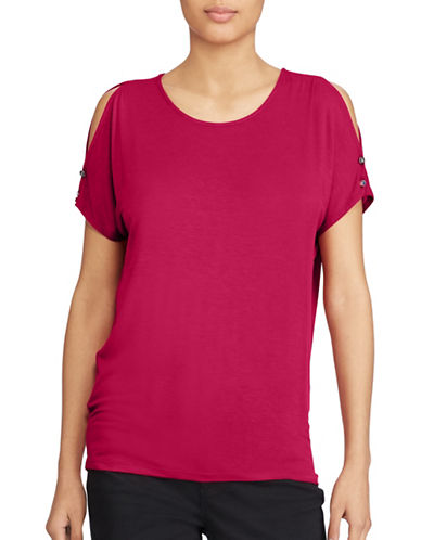 Lauren Ralph Lauren Petite Jersey Cold Shoulder Top-RED-Petite Medium