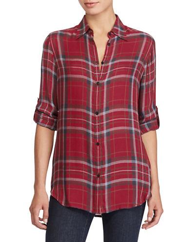 Lauren Ralph Lauren Petite Plaid Twill Button-Down Shirt-RED-Petite X-Small