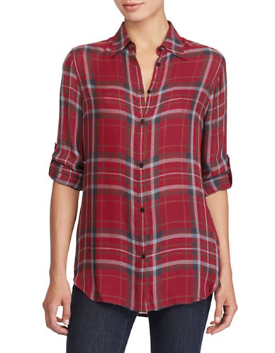 Lauren Ralph Lauren Petite Plaid Twill Button-Down Shirt-RED-Petite Medium