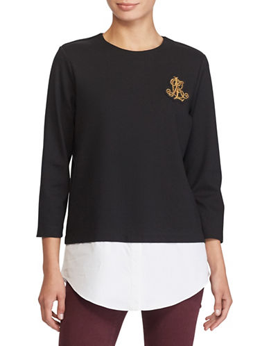 Lauren Ralph Lauren Petite Layered Bullion-Crest Top-BLACK-Petite Small