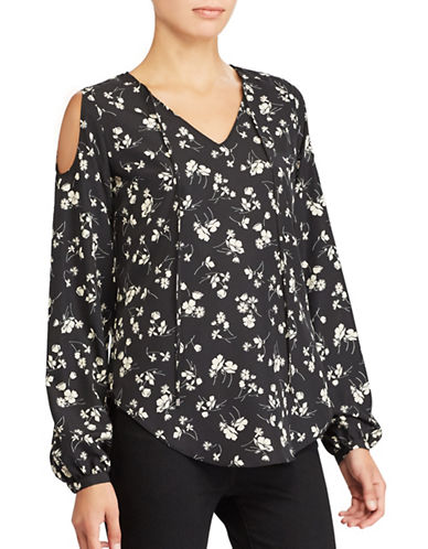Lauren Ralph Lauren Petite Floral Cold Shoulder Top-BLACK FLORAL-Petite Small