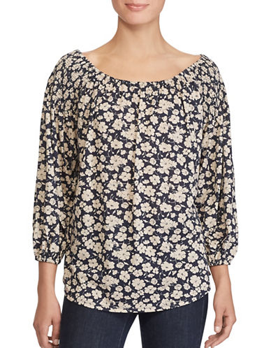 Lauren Ralph Lauren Petite Floral Off-The-Shoulder Top-NAVY/WHITE-Petite Small