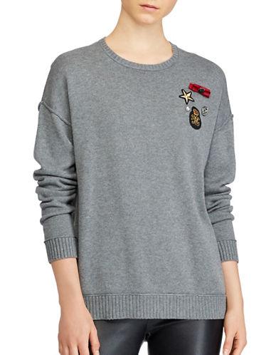 Lauren Ralph Lauren Petite Embellished Crewneck Sweater-GREY-Petite Medium