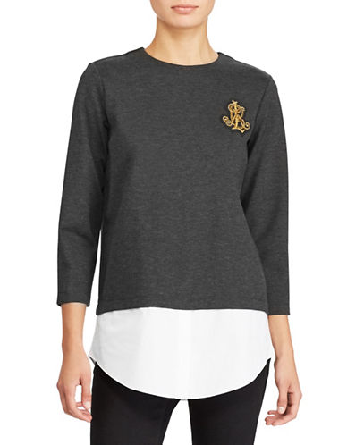 Lauren Ralph Lauren Petite Layered Bullion-Crest Top-DARK GREY-Petite Medium