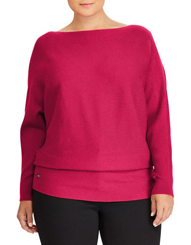 Lauren Ralph Lauren Plus Cotton-Blend Dolman Sweater-RED-2X