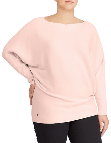 Lauren Ralph Lauren Plus Cotton-Blend Dolman Sweater-PALE ROSE-3X
