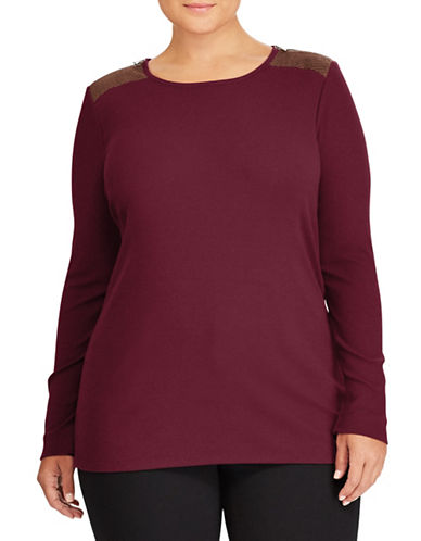 Lauren Ralph Lauren Plus Zip-Shoulder Crew Neck Top-RED-1X