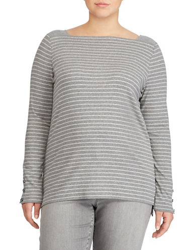 Lauren Ralph Lauren Plus Striped Stretch Top-GREY-2X 89501412_GREY_2X