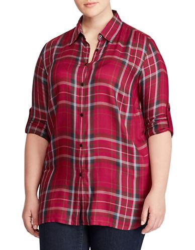 Lauren Ralph Lauren Plus Plaid Button-Down Shirt-RED-1X