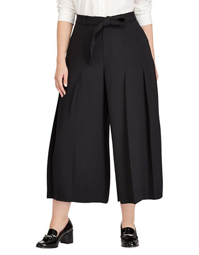Lauren Ralph Lauren Plus Cropped Wide-Leg Pants-POLO BLACK-16W
