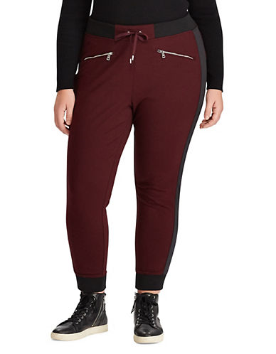 Lauren Ralph Lauren Plus Satin-Stripe Jogger Pants-RED-3X