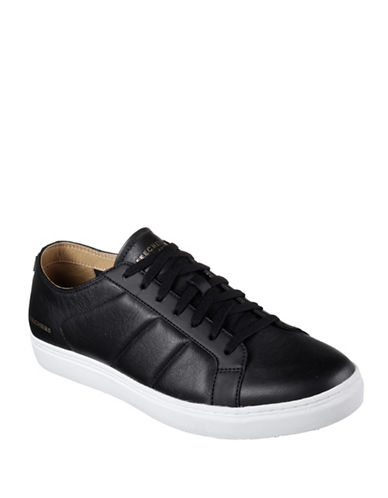 Skechers Venice Leather Sneakers-BLACK/WHITE-10.5
