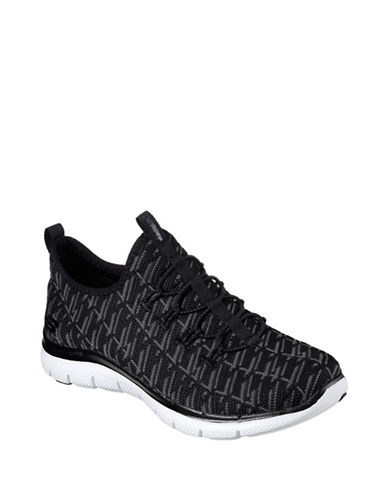 Skechers Womens Flex Appeal 2.0 Insight Sneakers-BLACK/GREY-9.5