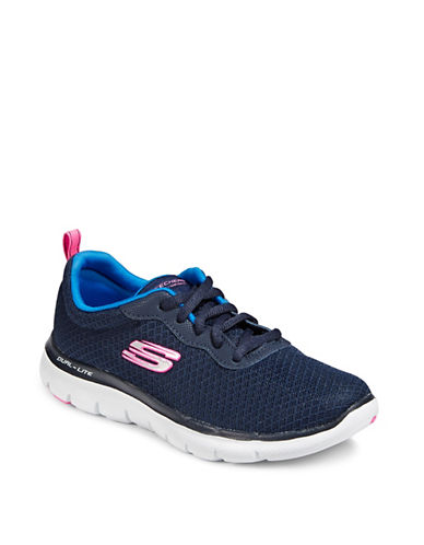 Skechers Flex Appeal 2.0 Newsmaker Lace-Up Sneakers-NAVY-7