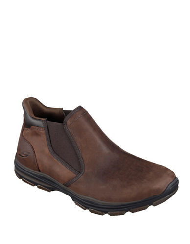 Skechers Mens Garton-Keven Leather Mid-Top Boots-DARK BROWN-8.5