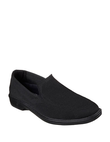 Skechers Morado Mesh Slip-Ons-BLACK-11