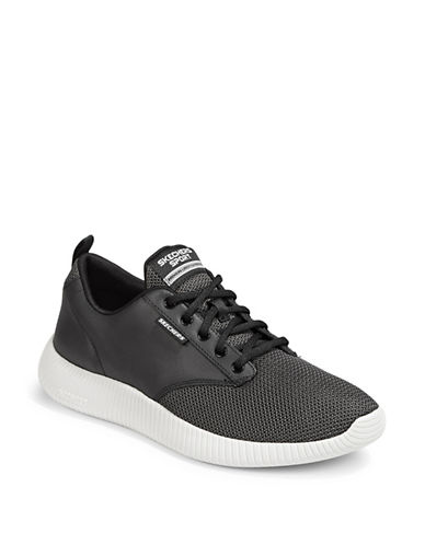 Skechers Lace-Up Sports Sneakers-BLACK-10.5