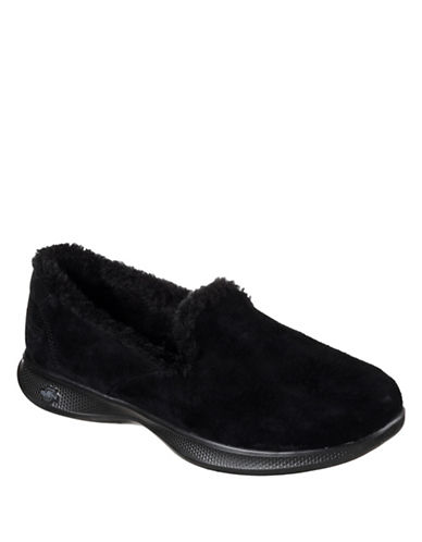 Skechers Go Step Lite Fuzzies Shoes-BLACK-7.5