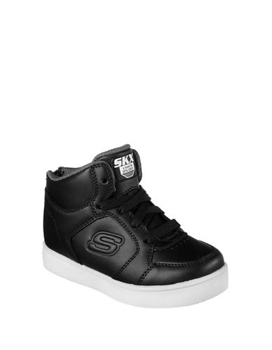 Skechers Energy Lights Gusto Flash Leather Mid-Top Sneakers-BLACK-10