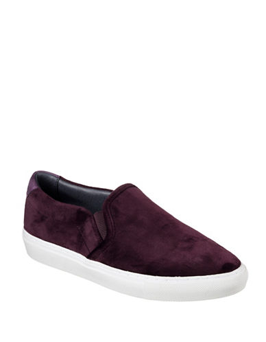Skechers Womens Vasseau Velvet Slip-On Sneakers-BURGUNDY-7.5