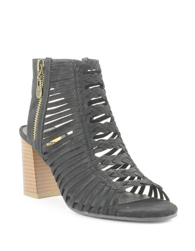 G By Guess Aliver Suede Caged Stacked Heel Sandals-BLACK-9