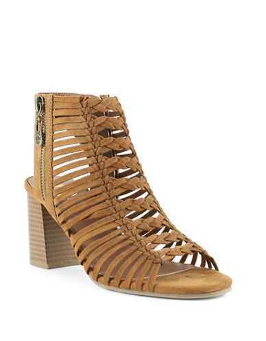 G By Guess Aliver Suede Caged Stacked Heel Sandals-BROWN-7