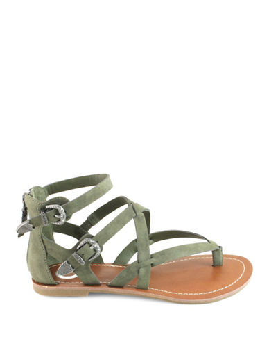 G By Guess Hearn Faux Suede Sandals-OLIVE-7.5