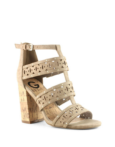 G By Guess Indeali Cut-Out Faux Leather Ankle Strap Sandals-SAND-6