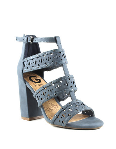 G By Guess Indeali Cut-Out Faux Leather Ankle Strap Sandals-DENIM-6.5